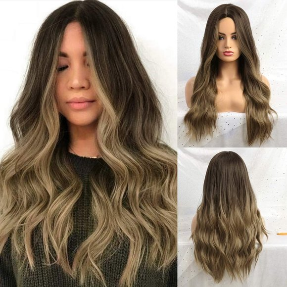 Long Wavy Synthetic Wigs Ombre Brown Middle Part
